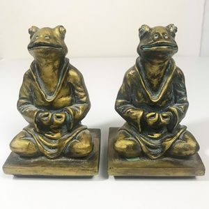 Frog Bookends - Zen, Meditating Yoga Frogs, Book